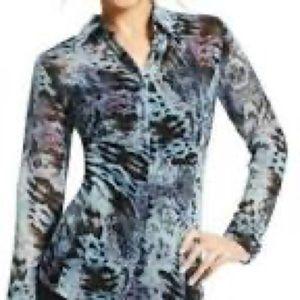 CAbi Python Semi Sheer Blouse Style 609 Size M